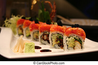 Sushi - Beautiful presentation of sushi, with soft-shell...