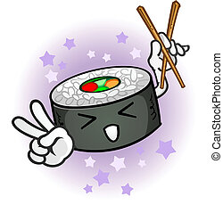 sushi, betű, karikatúra, kínai evőpálcikák