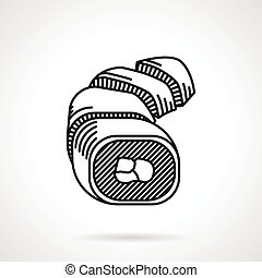 Sushi black line vector icon