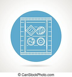 Sushi blue round vector icon