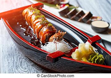 sushi, boat., gamberetto