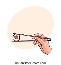 sushi, bois, japonaise, main, baguettes, tenue, paire, rouleau