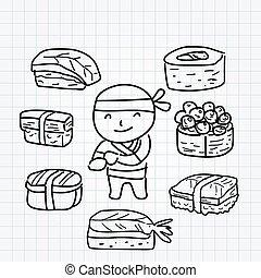 Sushi boy line art doodle