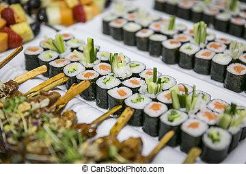 sushi, buffet, abastecimiento, /