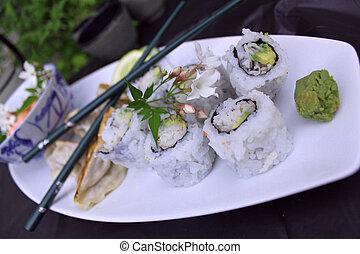 Sushi California Roll platter.
