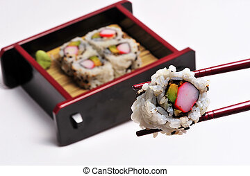 Sushi California Roll - Sushi California rolls in a box with...