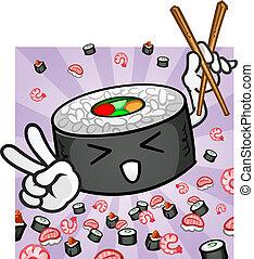 sushi, caractère, baguettes