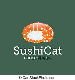 Sushi Cat Vector Concept Symbol Icon or Logo Template