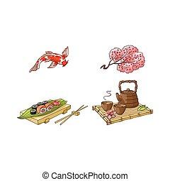 sushi, ceremonia, carpa, té, vector, sakura, conjunto, coi