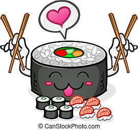 Sushi Character Eating Platter - A Happy Sushi Cartoon...