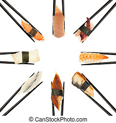 Sushi Circle - 8 different types of sushi being held up in...