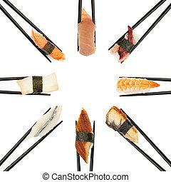 sushi, cirkel