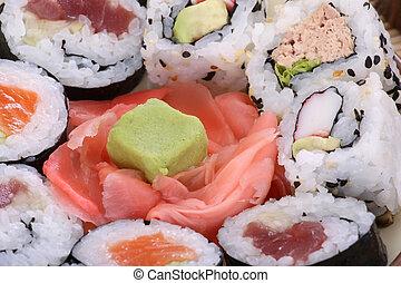 Sushi close-up, food background