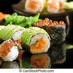 sushi, closeup, broodjes