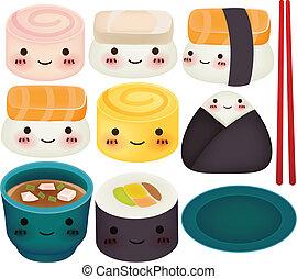 sushi, cobrança, -, vetorial, arquivo, eps10