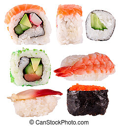 Sushi collection isolated over white background