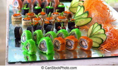 sushi, coloré, exposer, buffet