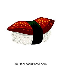 sushi., coloré, japonaise, illustration, dessin animé, nigiri