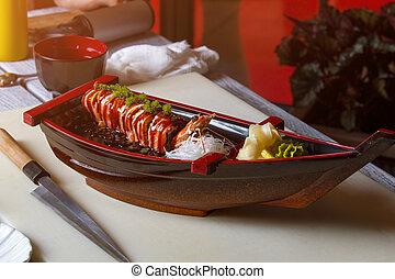 sushi, coltello, dire bugie, boat.