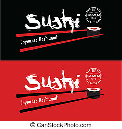sushi, conception, japonaise, restaurant