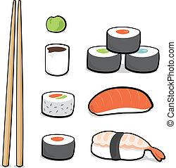 sushi, conjunto, caricatura