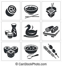 sushi, conjunto, iconos