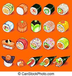 sushi, conjunto, japonés, colección