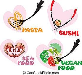 sushi, cuisine, ensemble, icônes, nourriture, -, japonaise, vegan, nourriture., mer, cœurs, shapes:, pâtes, italien