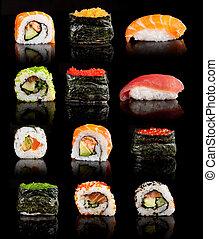 sushi, delicioso, pedazos