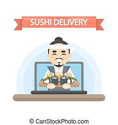 Sushi delivery logo.