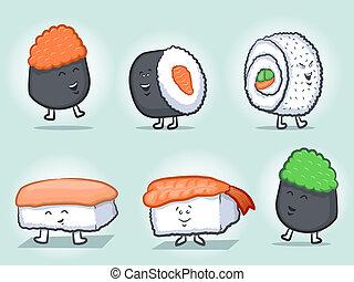 sushi, dessin animé, caractères, mascotte