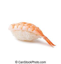 Sushi - Ebi Nigiri on a white