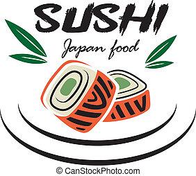 sushi, emblème, fruits mer, japonaise