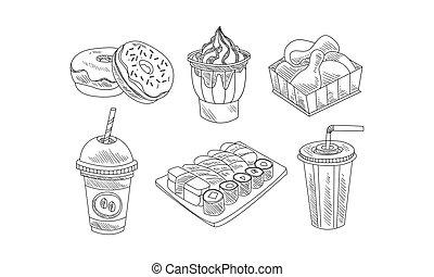 sushi, ensemble café, beignets, nourriture, boissons, cocktail., jeûne, main, vecteur, jambes, icons., glace, dessiné, poulet, lait