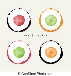 sushi, ensemble, icône