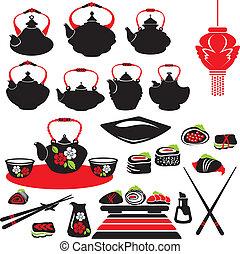sushi., ensemble, icônes, nourriture, -, asiatique, théière