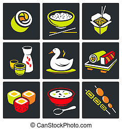 sushi, ensemble, icônes