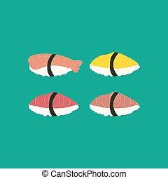 sushi, ensemble, illustration