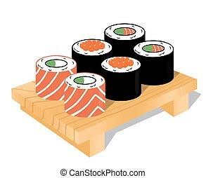 sushi, ensemble, vecteur