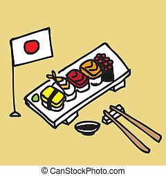 Sushi - Illustration of a set of hand draw sushi