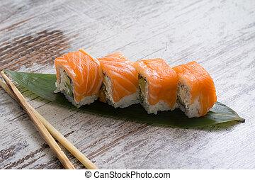 sushi, filadelfia, rollo
