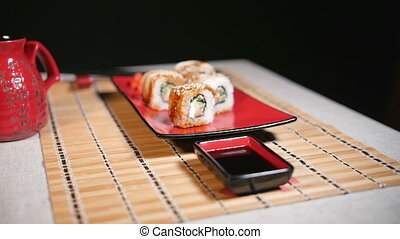 Sushi For Two Persons - Pan motion of sushi for two persons....