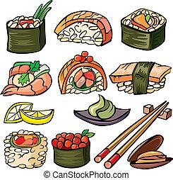 sushi, fruits mer, ensemble, icône