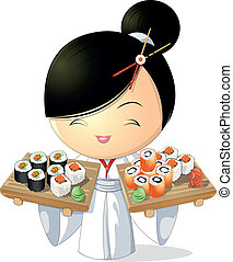 sushi girl - girl chef that keeps sushi in hand , on a white...
