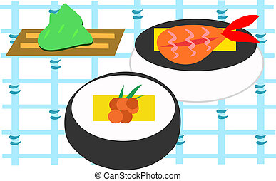 Here is a meal of sushi and wasabi on a blue grid.