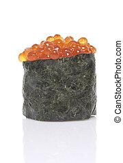 Sushi gunkan with salmon roe isolated.