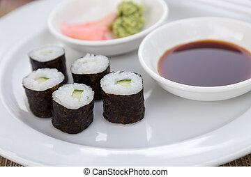 Sushi Hoso Maki - Hoso Maki Sushi Vegetarian with wasabi and...