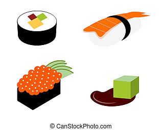 sushi, icônes, ensemble