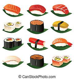 sushi, icônes