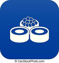 Sushi icon digital blue
